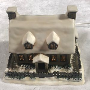 Currier & Ives - Lighted House - Winter Evening